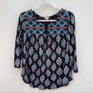 Chip & Pepper embroidered peasant boho top tribal